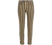 Halbhohe Jeans mit Schmalem Bein und Streifen