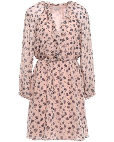 Marelle Ruffle-trimmed Floral-print Silk-georgette Mini Dress Pastel Pink