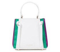 Pleated Color-block Leather And Suede Tote