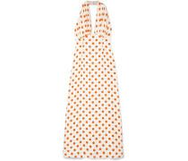 Polka-dot Silk Halterneck Maxi Dress