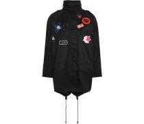 Appliquéd cotton-gabardine hooded coat