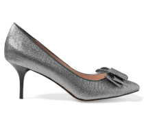 Ceres Bow-embellished Lamé Pumps Silber