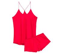 Woman Bella Silk-satin Pajama Set Red
