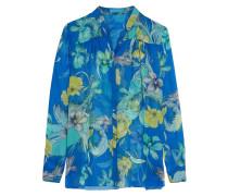 Mandarin Printed Silk-chiffon Blouse Azurblau