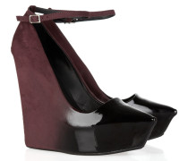 Ombré Patent-leather And Suede Wedges Merlot
