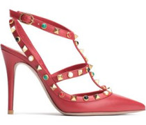 Rockstud Leather Pumps Red