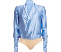 Wrap-effect Silk-satin Bodysuit