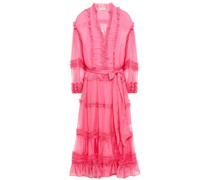 Althea Belted Ruffled Silk-chiffon Midi Dress