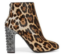 Embellished leopard-print calf hair boots