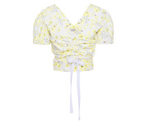 Woman Ruched Floral-print Stretch-cotton Poplin Top Pastel Yellow