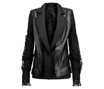 Twill And Mesh-trimmed Leather Jacket Schwarz