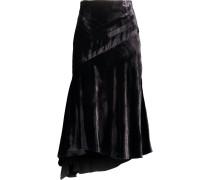 Asymmetric Velvet Midi Skirt Schwarz
