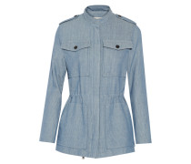 Striped Cotton And Linen-blend Jacket Hellblau