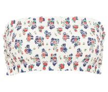 Bedrucktes Bandeau-bikini-oberteil mit Raffung, Print und Rüschenbesatz