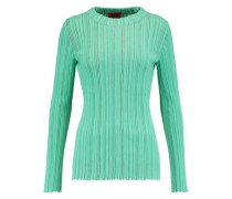 Ribbed striped wool-blend sweater