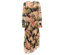 Espionage Asymmetric Layered Floral-print Silk-georgette Midi Dress