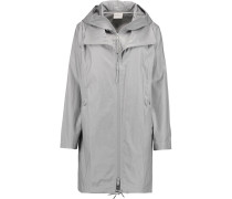 Coated Linen And Cotton-blend Hooded Jacket Hellgrau