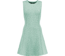 Claudia Embroidered Stretch-ponte Mini Dress Mint
