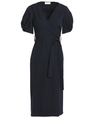 Cotton-blend Poplin Wrap Dress Black