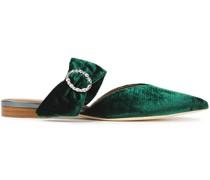 Maite Crystal-embellished Velvet Point-toe Flats