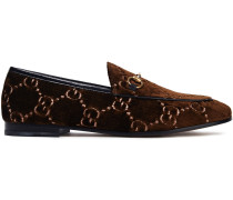 Embellished Embroidered Velvet Loafers