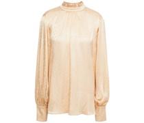 Geraffte Bluse aus Glänzendem Jacquard mit Rüschenbesatz