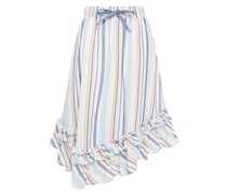 Asymmetric Striped Cotton Skirt