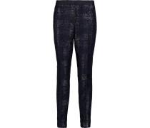 Bernadette Metallic Tweed Slim-leg Pants Mitternachtsblau