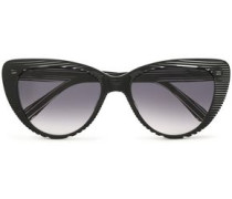 Cat-eye Striped Acetate Sunglasses Black Size --