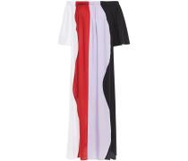 Off-the-shoulder Color-block Tencel Maxi Dress