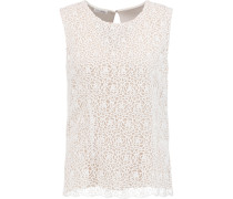 Cotton Guipure Lace And Silk-chiffon Top Weiß