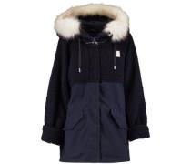 Faux-fur trimmed hooded cotton parka