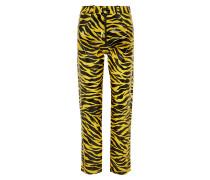 Hose mit Geradem Bein aus Pu mit Tigerprint