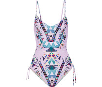 Cutout Printed Swimsuit Flieder