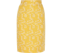 Cotton-blend Tweed Pencil Skirt Gelb