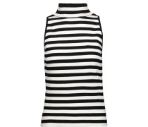 Striped Stretch-knit Turtleneck Top Schwarz