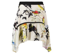 Asymmetric Printed Silk Skirt Mehrfarbig
