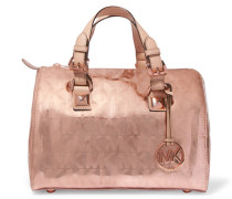 Embossed Metallic Faux Leather Tote Roségold