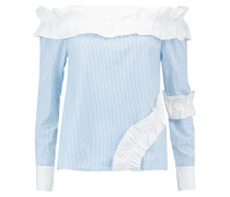 Derrick Off-the-shoulder Pinstriped Cotton Top Hellblau