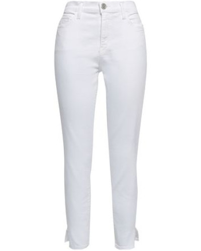 The High Waist Stiletto Frayed High-rise Skinny Jeans White  4