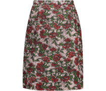 Printed Wool-blend Cloqué Skirt Mehrfarbig