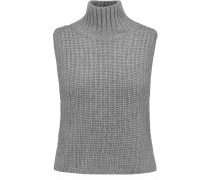Cropped Knitted Turtleneck Top Grau