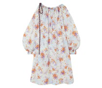 Cutout Floral-print Crinkled-taffeta Dress