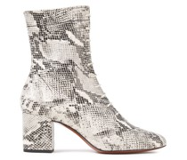 Lace-up Snake-effect Leather Ankle Boots