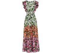 Noor Maxikleid aus Popeline aus Stretch-baumwolle mit Floralem Print und Rüschen