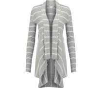 Draped Striped Cotton Cardigan Grau