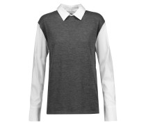 Poplin-paneled Wool And Cashmere-blend Sweater Dunkelgrau
