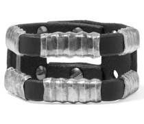 Hammered Silver-tone And Leather Cuff Schwarz