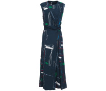Woman Knotted Zip-detailed Printed Crepe Midi Dress Navy