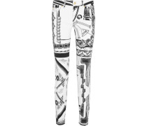 + Anthony Vaccarello Printed Mid-rise Skinny Jeans Weiß